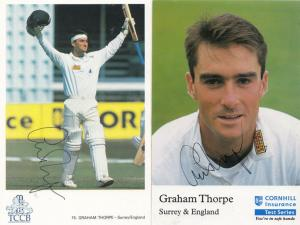 Graham Thorpe 2x Hand Signed Cornhill Insurance Surrey Cricket Card Photo s