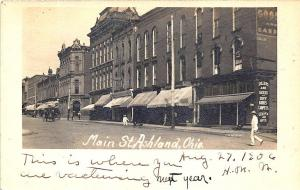 Ashland OH Main Street Sellers & Good Dry Goods Bank Storefronts RPPC Postcard