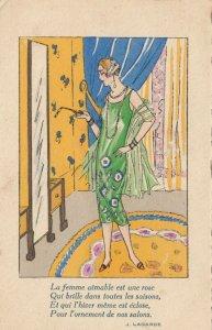 ART DECO ; Female wearing green tank dress looking in the mirror, PU-1926