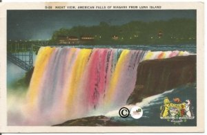 Night View, American Falls of Niagara from Luna Island Niagara Falls N.Y.