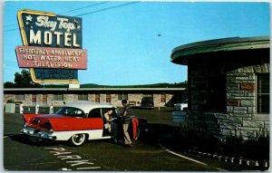 Dover, New Jersey Postcard SKY TOP MOTEL w/ Cool 1950s Car - Highway 46 Roadside
