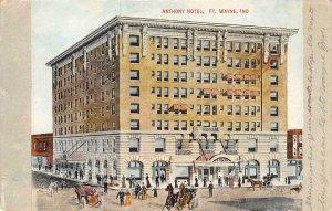 ANTHONY HOTEL Ft. Wayne, Indiana Street Scene c1910s Vintage Postcard