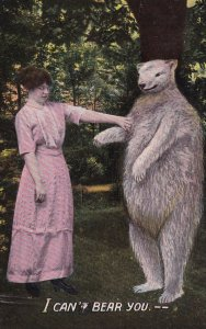 PU-1913; I Can't Bear You..., Woman Rejecting A Bear