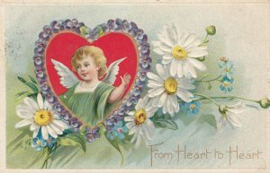 VALENTINE'S DAY, PU-1929; From Heart To Heart, Angel Inside A Heart Surroun...