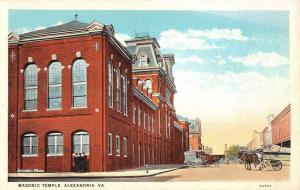 Alexandria Virginia Masonic Temple Street View Antique Postcard K67361