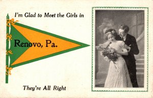 Pennsylvania Renovo Romantic Couple 1910 Pennant Series