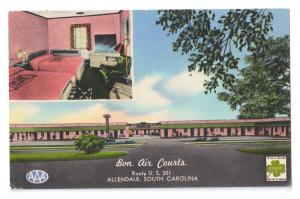 Allendale SC Bon Air Courts Vintage Chrome Postcard Motel