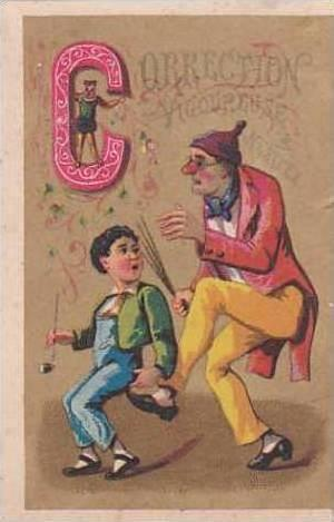 Vintage French Victorian Trade Card Alphabet Series Letter C