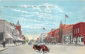 Ludington Michigan~West Ludington Avenue East~Vintage Car~Street Clock~c1910 Pc
