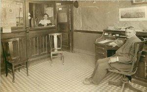 c1912 RPPC Postcard Railroad or Telegraph Office, Portland OR BPOE poster NPRR
