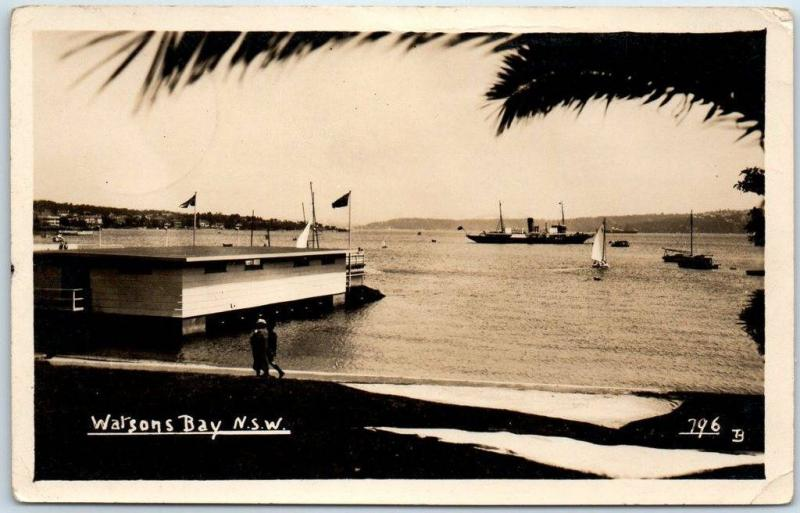 Sydney NSW Australia RPPC Real Photo Postcard Watsons Bay Boats Harbor 1940s