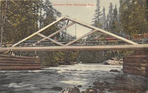 Bellingham Washington~Nooksack River~Men Posing on Bridge~Horse Carriage~c1910