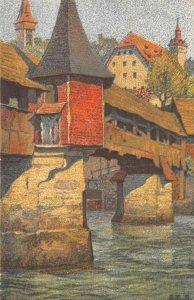 Totentanzbrücke Ernst Schlatter Lucerne Spreuer Bridge c1910s Vintage Postcard