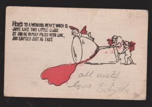 Comic Postcard - Here's To A Woman's Heart - Used 1908