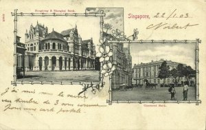 straits, SINGAPORE, Hongkong & Shanghai Bank, Chartered Bank (1903) Postcard (2)
