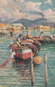 NAPOLI , Italy , 1930s ; Vesuvio con barche