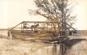 Buckingham Iowa~Rock Creek Pony Through Truss Bridge~Horse Buggy~c1908 RPPC
