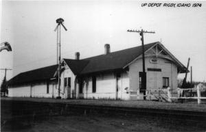 F26/ Rigby Idaho RPPC Postcard c1974 UP Railroad Depot