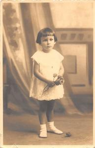 Little Girl, Bob Haircut, Roses Flowers, Artistic Old Photography Postcard