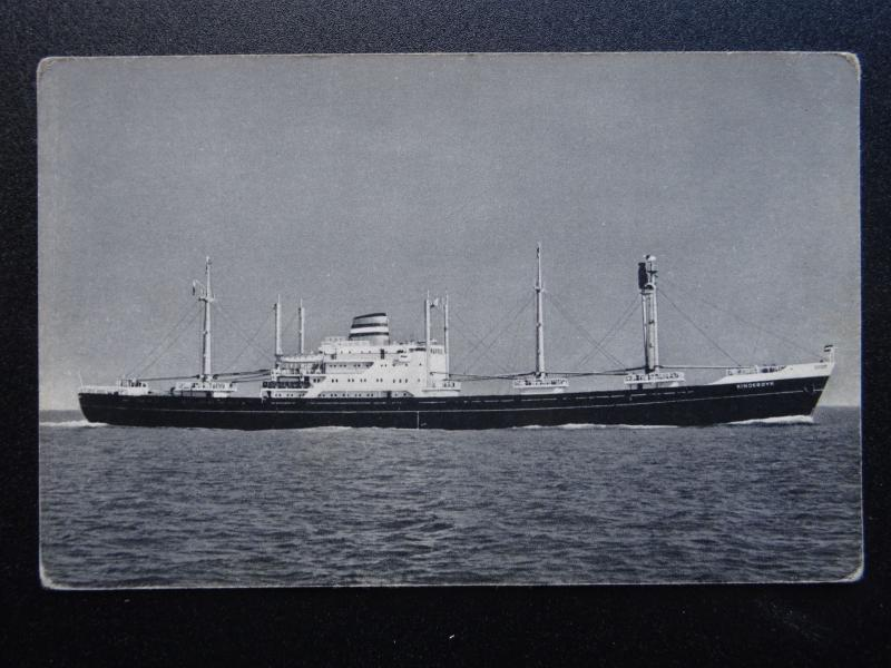 Shipping Dutch Cargo Ship MV KINDERDYK Holland America Line - Old Postcard