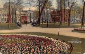 Philadelphia Pennsylvania~Independence Square~Tulip Bed~Businesses~1913 Postcard
