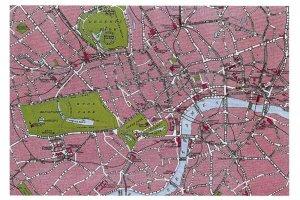 Vintage reproduction CENTRAL LONDON Map Card Postcard DK1