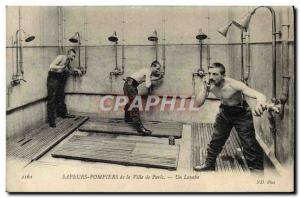 Old Postcard Firefighters Paris A sink