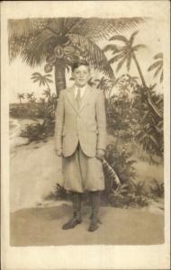 Boy in Suit & Knickerbocker Pants Vintage Fashion Studio Real Photo Postcard