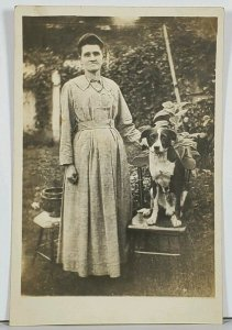 RPPC Woman with Her Dog Susan Lapole Hagerstown Md Family Est Postcard K2
