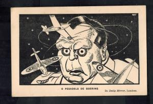Mint WW2 Portugal  Postcard Royal Air Force Driving Goering Crazy