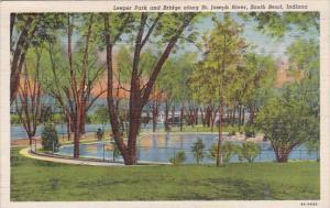 Indiana South Bend Leeper Park And Bridge Along Saint Joseph River 1943