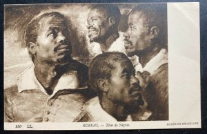 Mint Picture Postcard Black Americana Negro Heads Rubens