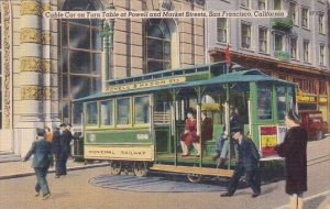 Cable Car On Turn Table At Powell And Market Streets San Francisco California...
