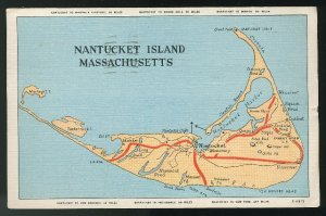 Nantucket Island Massachusetts MA Map Mileages Locations Linen Postcard 1947