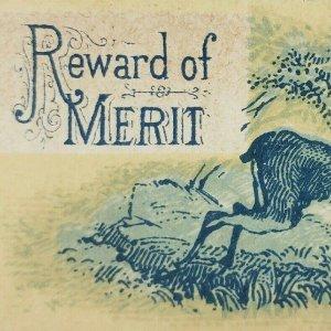 Antique Award of Merit 1880s Deer Buck Running Blue Yellow Card Forest Nature