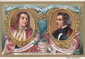 Liebig Vintage Trade Card S489 Famous Painters 1896 Anton Watteau & Eugen Del...