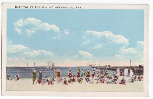 P1247 old unused postcard bathing at the spa st petersburg florida