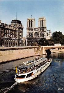 France Paris Notre Dame Le Petit Pont Bridge River Boat Cathedral