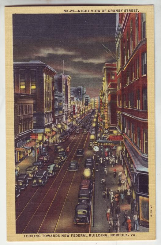 P1054 busy street scene night view granby ave norfolk virginia old cars signs