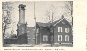 Woodbury New Jersey Deptford Library and Fire House Antique Postcard J63679