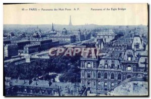 Postcard Old Paris Panorama of Eight Bridges Eiffel Tower