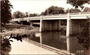 Cherokee Iowa~View From Underneath Concrete Bridge~Car on Top~1930s RPPC