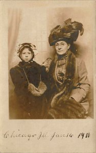 Chicago IL Mother and Daughter? Real Photo Postcard