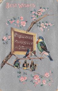 Fantasy~Dressed Bluebird Teaches Lil Birds to Sing~School Slate in Tree~Silver