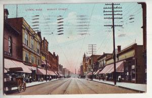 P868 1909 trolly tracks people old wagon etc market street lynn mass