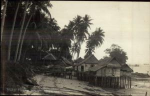 Malaya Malaysia Fishing Village c1920 Real Photo Postcard