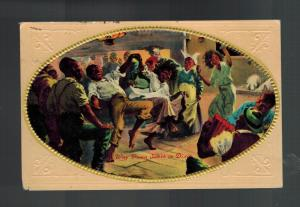 1911 NH USA Postcard Cover Black Americana Way Down SOuth in Dixie Partying