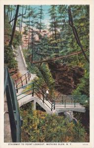 New York Watkins Glen Stairway To Point Lookout Curteich