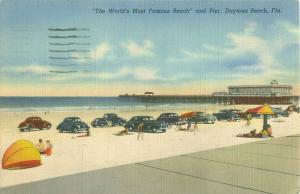 Daytona Beach FL 1951 Postcard 1940s Cars, People, Umbrellas, Florida