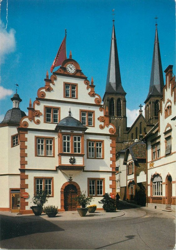 Germany Postcard Mainz Gonsenheim City Hall and Catholic Church St Stephan